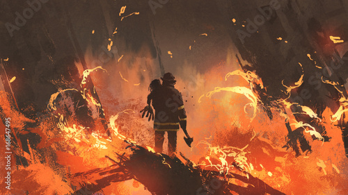 firefighter holding girl standing in burning buildings, digital art style, illustration painting