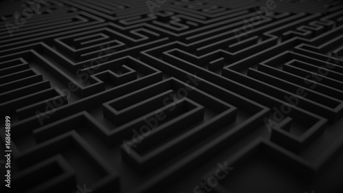 Fotomural Black labyrinth background with dof focus