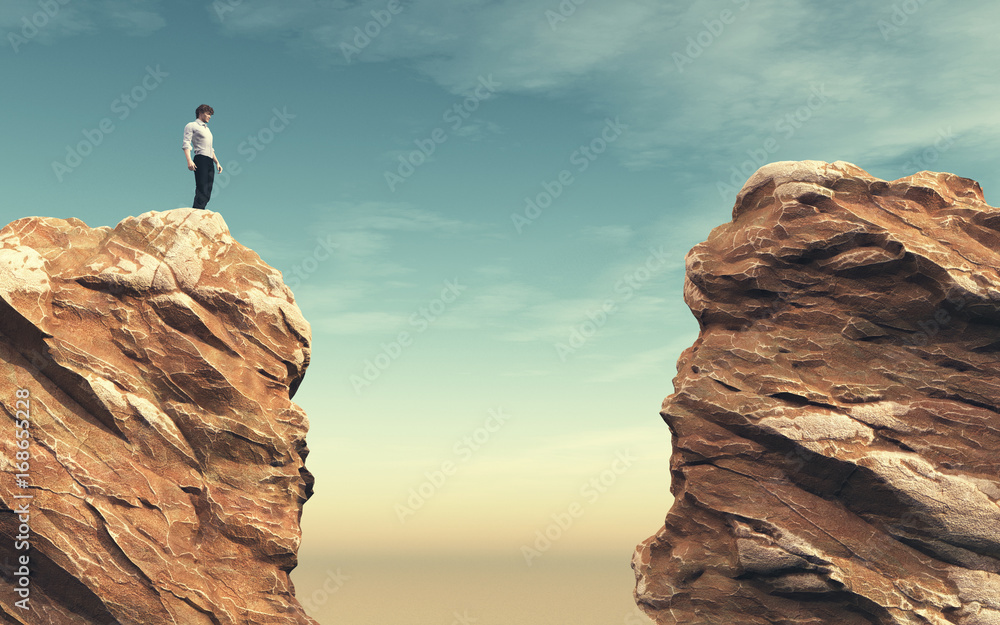 Fototapety, obrazy: Young man on a rock