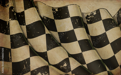 Photo sur Aluminium Motorise Race Waving Flag Old Paper