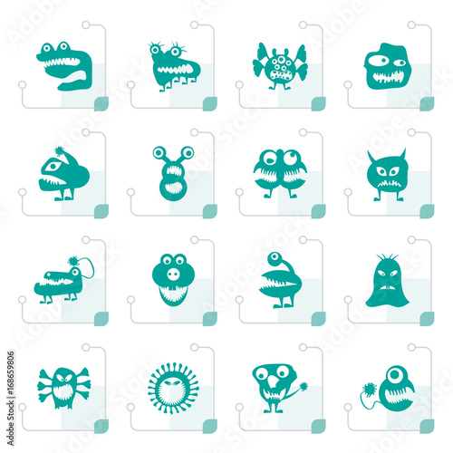 Autocollant pour porte Creatures Stylized various abstract monsters illustration - vector icon set