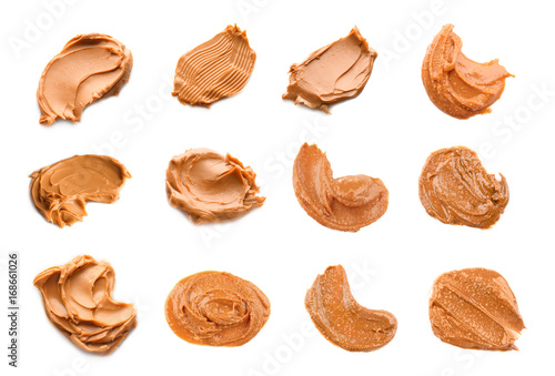 Valokuva  Collage of peanut butter on white background