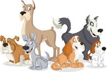 Group Of Cartoon Dogs. Cute Pets.