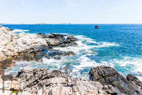 Cliff rocks by trail by Portland Head Lighthouse in Fort Williams park in Cape, Poster