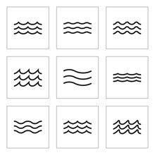 Wave Icon Set. Water Line Signs Collection. Vector Illustration.