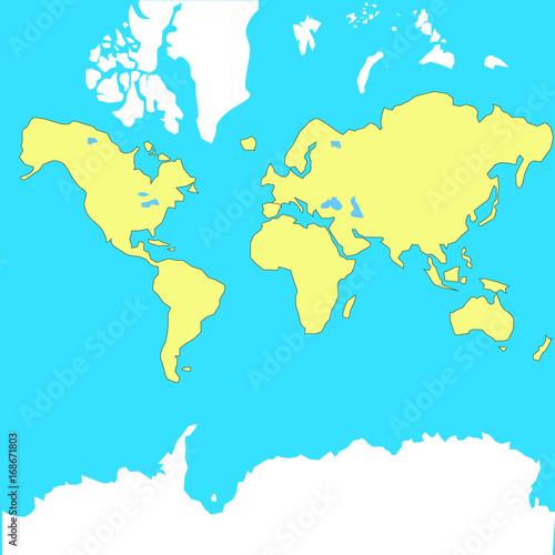 Türaufkleber Weltkarte Vector map of the world in the plane