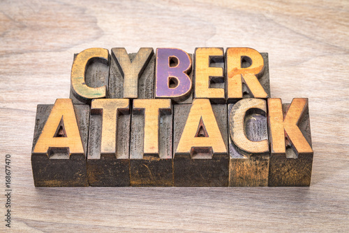 Fotografie, Tablou  cyberattack word abstract in woodtype
