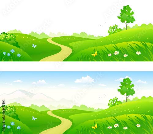 Poster Lime groen Summer green landscape banners