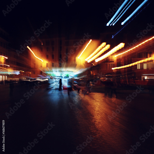 Staande foto Las Vegas abstract background of night city with colorful lights