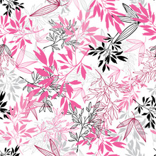 Vector Pink Black Tropical Leaves Summer Seamless Pattern With Tropical Magenta Plants And Leaves On White Background. Great For Vacation Themed Fabric, Wallpaper, Packaging.