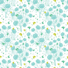 Vector Blue Green Blooming Trees And Flying Butterflies Seamless Repeat Pattern Background. Great For Fabric, Wallpaper, Wrapping Paper, Wedding Invitations Design.