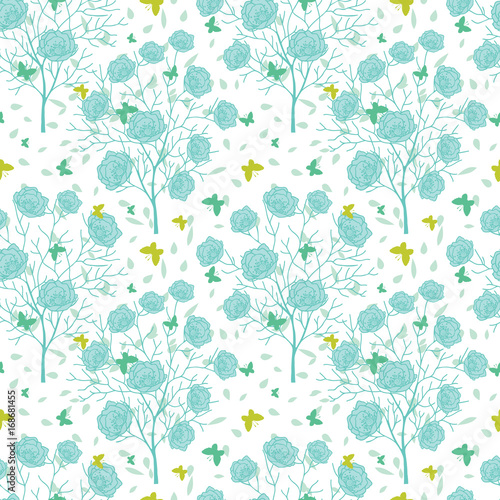 Vector Blue Green Blooming Trees And Flying Butterflies Seamless Repeat Pattern Background Great For Fabric