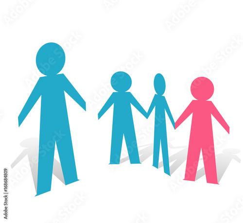 Fotografie, Obraz  Paper People Single Male Family