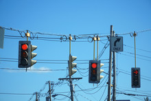 Hanging Traffic Light And Powe...