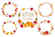 Autumn Or Fall Wreath Frame Ve...