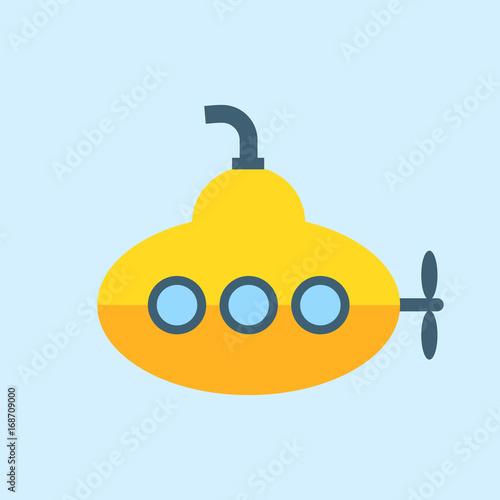 Láminas  Yellow Submarine with periscope, Flat design. Vector