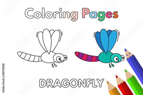 Cartoon Dragonfly Coloring Book Buy This Stock Vector And