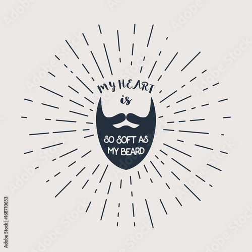 Photo  Vector beard with hipster lettering