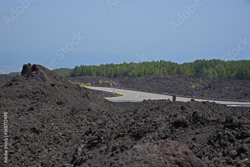 Staande foto Vulkaan Route dans un champ de lave sur l'Etna