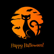 Halloween Background With Cat,...