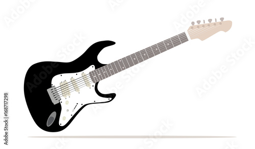Photo  Vector - A traditional solid body black electric guitar isolated over white