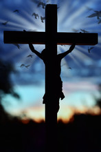 Jesus Christ Cross Over Sunset Sky