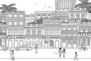 People walking through Havana- Hand drawn urban black and white scene