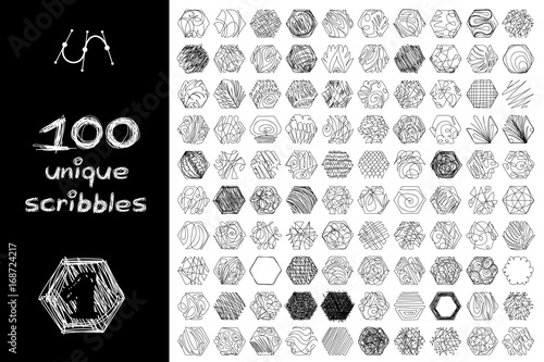 Fotografie, Obraz  vector SET 100 hexahedron SCRIBBLES Part 1
