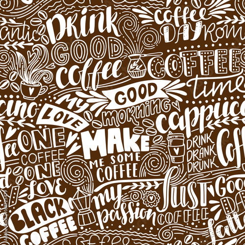 Fotografia, Obraz  Seamless lettering coffee pattern with quotes