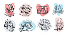 Hand Drawn Lettering Set With Romantic Phrases About Love. Vector Inscriptions Collection On White Background.