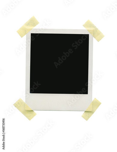 Instant Photo Frame Template With Empty E For Picture And Text Isolated On White Background Work Path