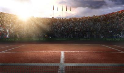 Fototapeta Tenis ground court grande arena 3d rendering
