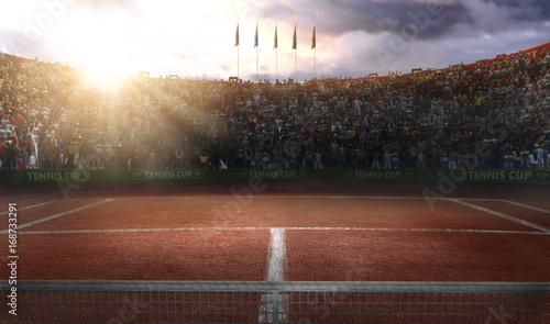 Plakat Tenis ziemi sądu grande areny 3d rendering