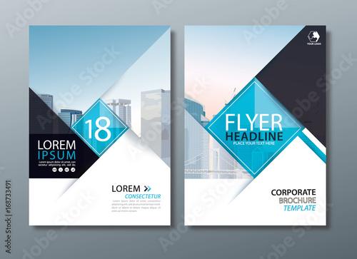 Photo  Black blue annual report brochure flyer design, Leaflet cover presentation, book cover template