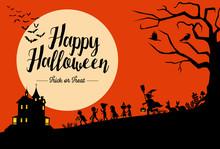 Halloween Background, Silhouet...