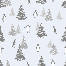 Abstract Winter Seamless Pattern With Penguins And Fir Trees. Vector Christmas Background.