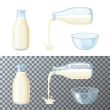 Milk Set. Transparent Glass Bottle With Milk, Pouring Milk, Glass Bowl. Vector Cartoon Illustration Flat Icon Isolated On White.