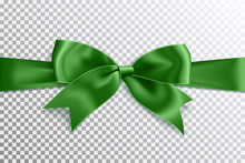Realistic Satin Green Bow Knot...