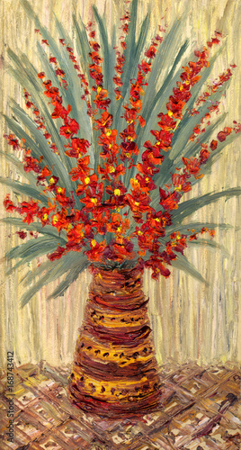 Plakat Martwa natura z olejem. Bukiet z gałązkami jaskrawoczerwonych kwiatów