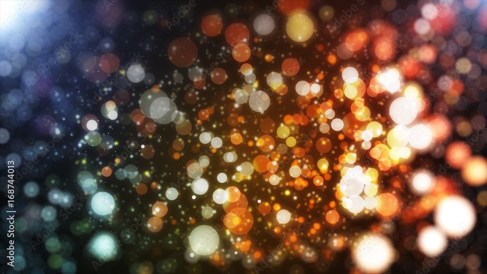 Fototapety, obrazy: abstract blurred of blue and silver glittering shine bulbs lights background:blur of Christmas wallpaper decorations concept.xmas holiday festival backdrop:sparkle circle lit celebrations display.