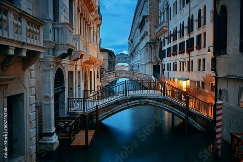 Venice canal night bridge