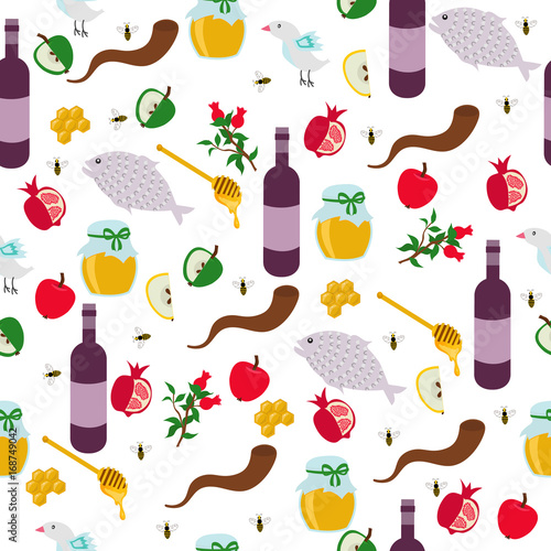 rosh hashanah shana tova or jewish new year seamless pattern with honey apple