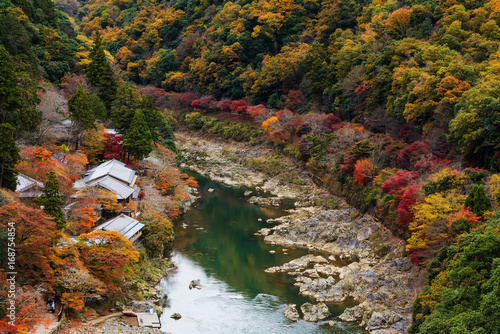Hozu River in autumn, Arashiyama, Japan