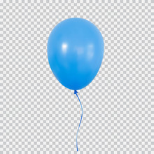 Blue Helium Balloon Isolated On Transparent Background.