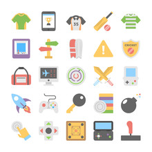 Sports And Games Flat Colored Icons 7