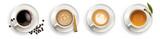 Coffee, cappuccino, Espresso, Tea, top view in vector format