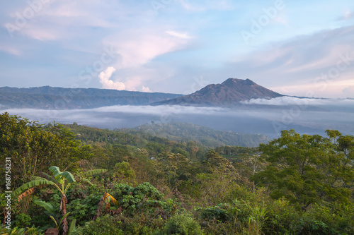 Photo sur Toile Jungle Kintamani volcano in the morning, viewed from Penelokan is a popular sightseeing destination in Bali's central highlands, Indonesia.