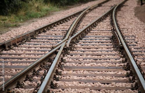 Fotoposter Spoorlijn Weiche, Detail einer Weiche, Eisenbahn, Transport