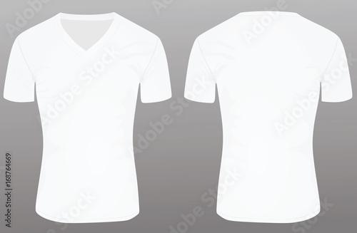 White V Neck T Shirt Template Vector Illustration