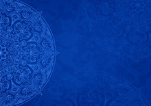 Horizontal Blue Background With Oriental Round Pattern And Texture Of Old Paper. Vector Illustration.